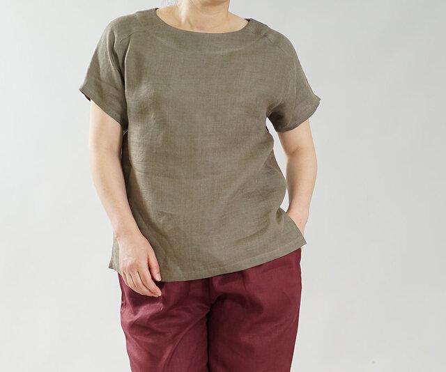 【wafu】中厚 リネン Wガーゼ Tシャツ ブラウス ふんわり トップス 丸首 ラグラン / カーキ t038a-khk2の画像1枚目