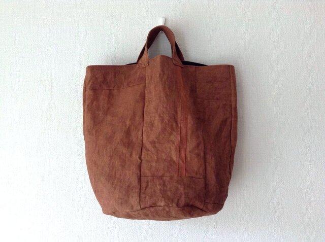 つないでつないで柿渋かばん - 柿渋染めの丸底トートバッグの画像1枚目