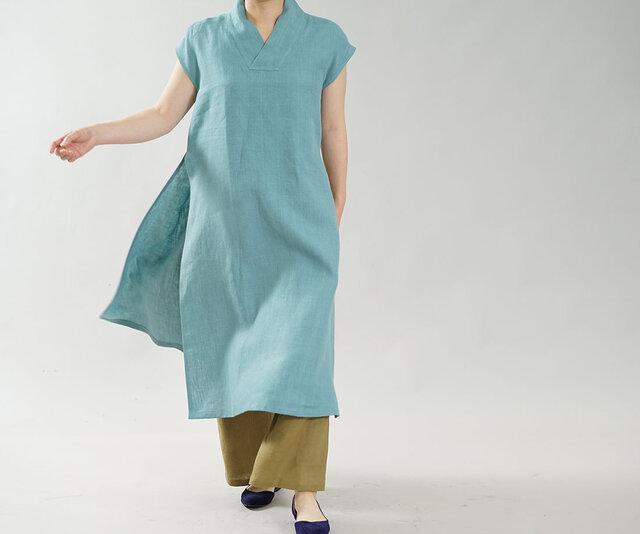 【wafu】中厚 リネン ワンピース 禅 着物襟 重ね着 フレンチスリーブ サイドスリット / 白群 a084c-byg2の画像1枚目