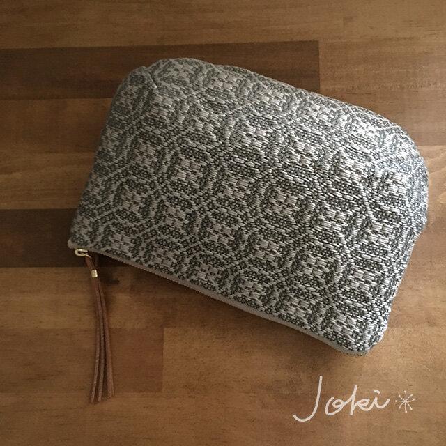 pouch[手織りポーチ] ベージュ×シルバーベージュの画像1枚目