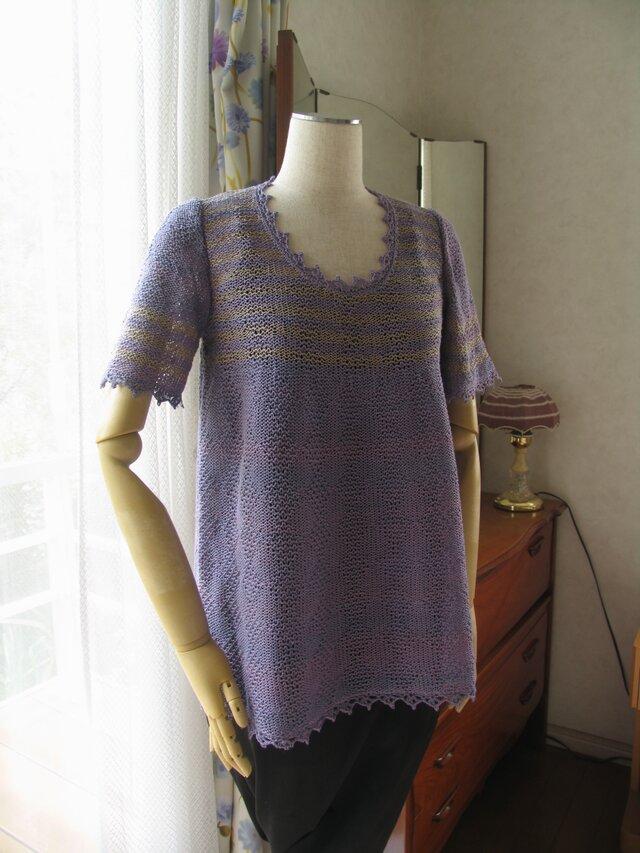 グレープ色のサマーセーターの画像1枚目