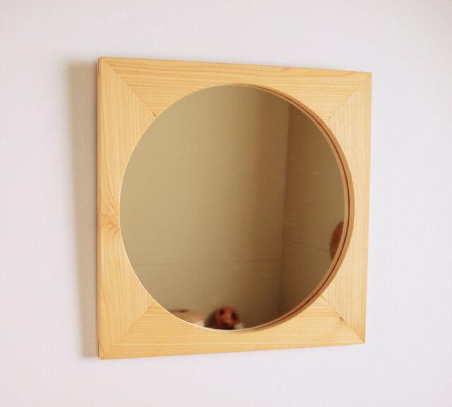 木製 鏡「四角に丸」ヒノキ材7 ミラーの画像1枚目