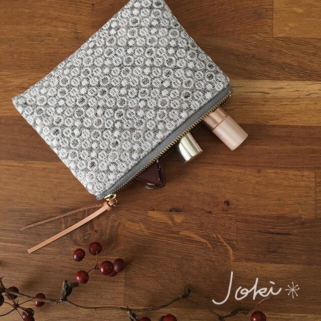 pouch[手織りミニポーチ]グレーの画像1枚目