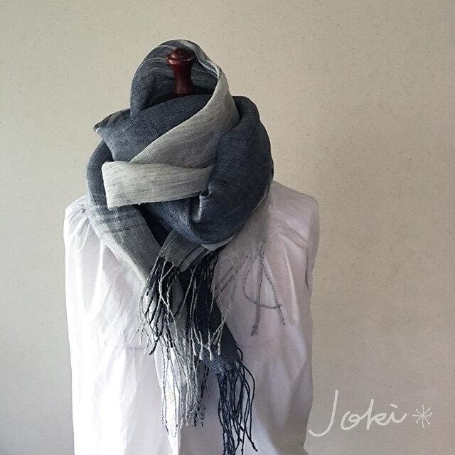 shawl[手織りリネンショール] ネイビー×グレーの画像1枚目