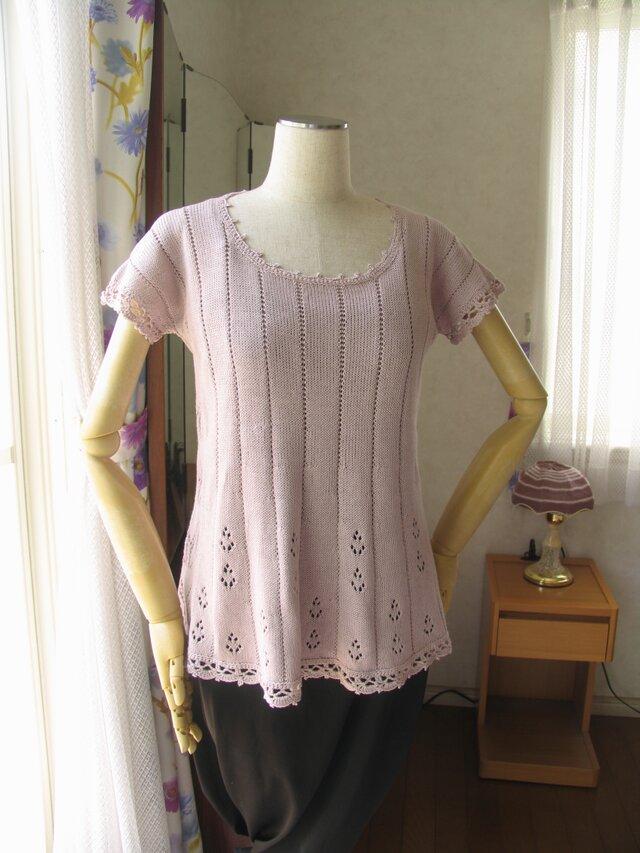 フレンチ袖のチュニック 淡いピンクの画像1枚目