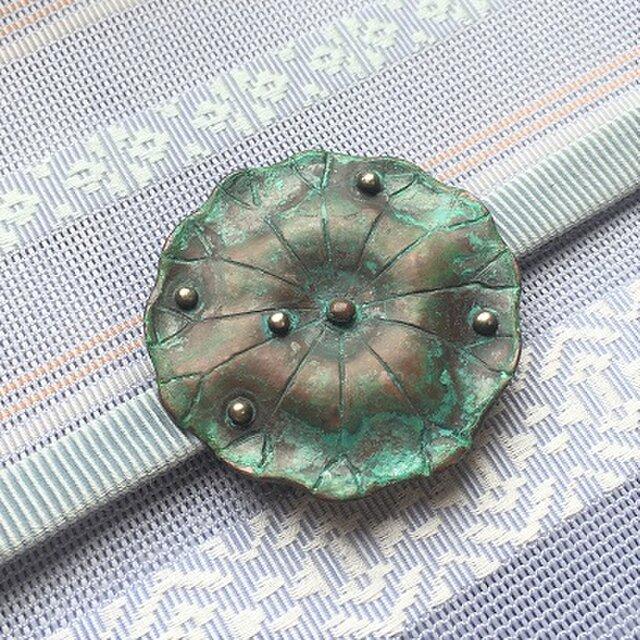 銅製帯留「荷葉」【hw62】の画像1枚目