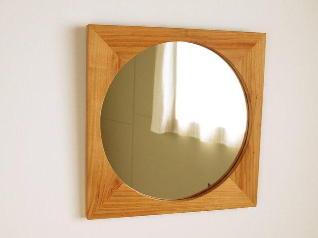 木製 鏡「四角に丸」桜材11 ミラーの画像1枚目