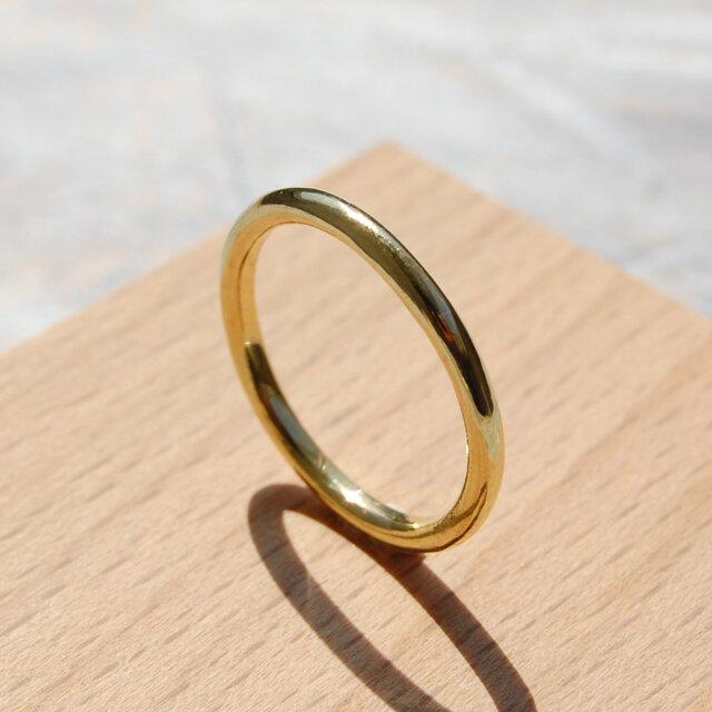 鏡面 ブラスプレーンリング 2.0mm幅 ミラー 真鍮|BRASS RING 指輪 シンプル アクセサリー|141の画像1枚目