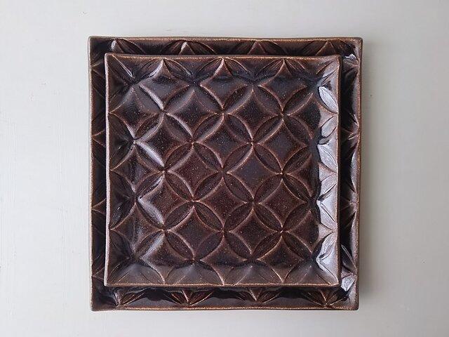 綾series/角皿Lsize (chocolate)の画像1枚目
