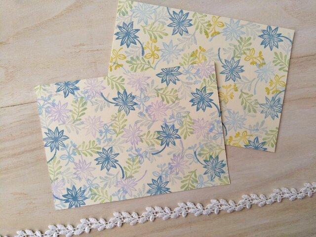 消しゴム版画 ポストカード(花模様)の画像1枚目