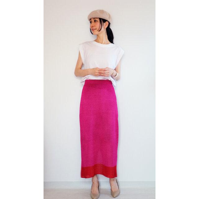 ◆即納◆Sualocin[スアロキン] ナロー・スカート2 / ピンク系1 / Mサイズの画像1枚目