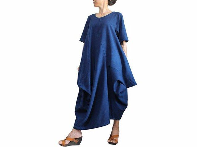 ジョムトン手織り綿のマルチ切り替えドレス インディゴ(DRL-011-03)の画像1枚目