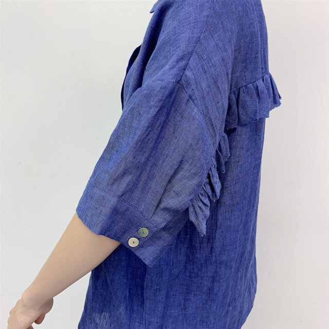 en-en ・リネン背フリルシャツ・青(羽織にも)の画像1枚目