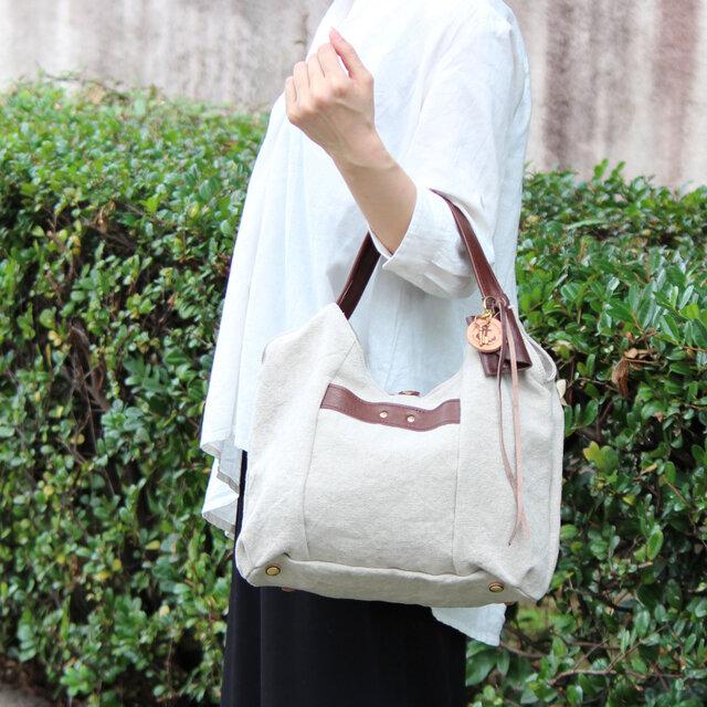 tanton-mini(linen)ダークブラウン(リネン帆布×杤木トートバッグ)の画像1枚目