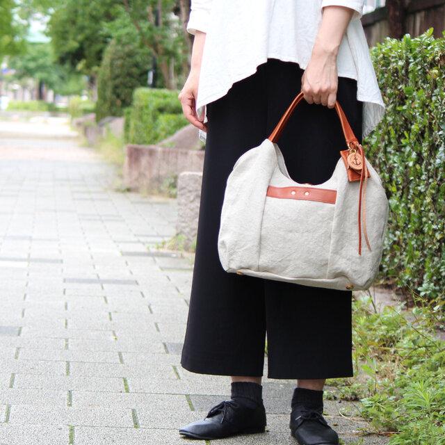 tanton-mini(linen)レッドブラウン(リネン帆布×杤木トートバッグ)の画像1枚目