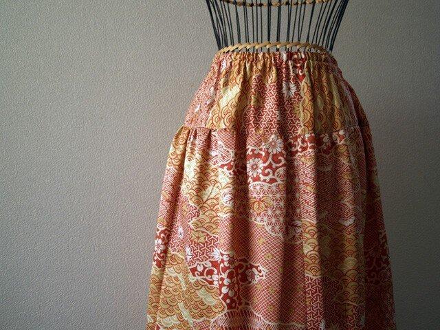 着物リメイク:絹のギャザースカートの画像1枚目