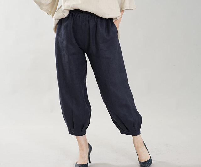 【wafu】やや薄地 柔らかい リネン パンツ 裾タック ボトムス ヨガパンツにも/留紺(とめこん) b013a-tmk1の画像1枚目