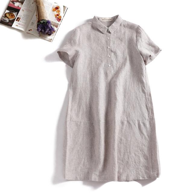 着るほどに愛着がわくストライプワンピース 半袖 麻100%  ベージュ 190709-3の画像1枚目
