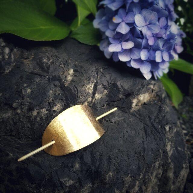 浴衣に合う真鍮の簪*楕円形×槌目模様の画像1枚目