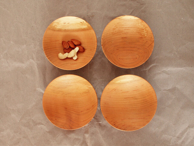木の小皿 桜材3 4枚セットの画像1枚目