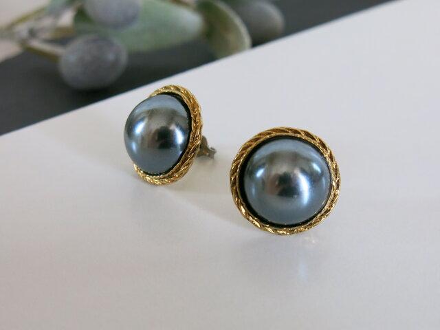 1点のみ☆黒真珠のような美しさ アンティークボタンピアス パールピアス ヴィンテージボタンピアスの画像1枚目