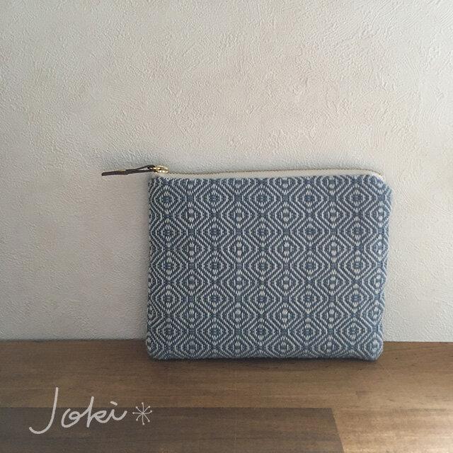 pouch[手織り小さめポーチ]薄ブルー×ホワイトファスナーの画像1枚目