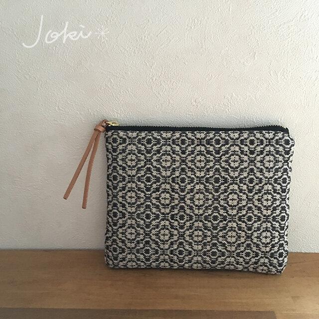 pouch[手織り小さめポーチ]フラワーブラックの画像1枚目