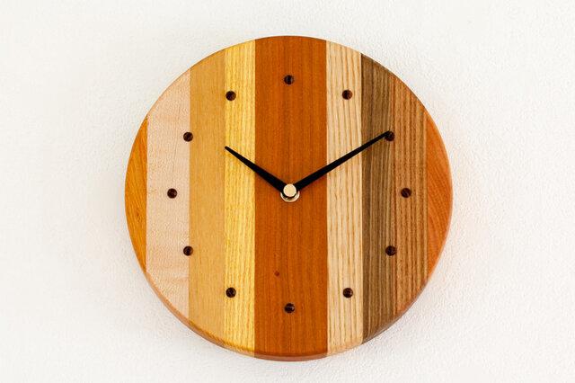 寄せ木の壁掛け時計 円形38の画像1枚目