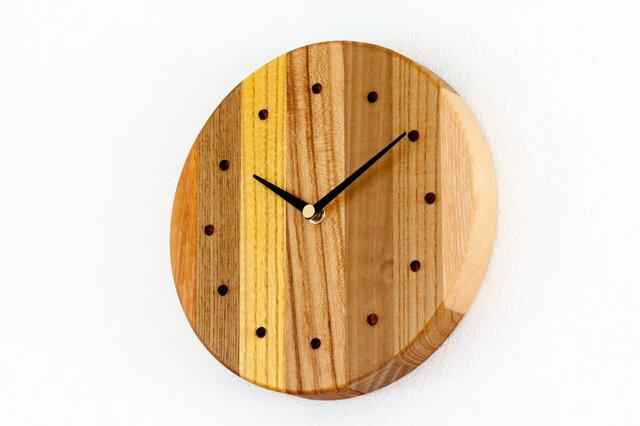 寄せ木の壁掛け時計 円形39の画像1枚目