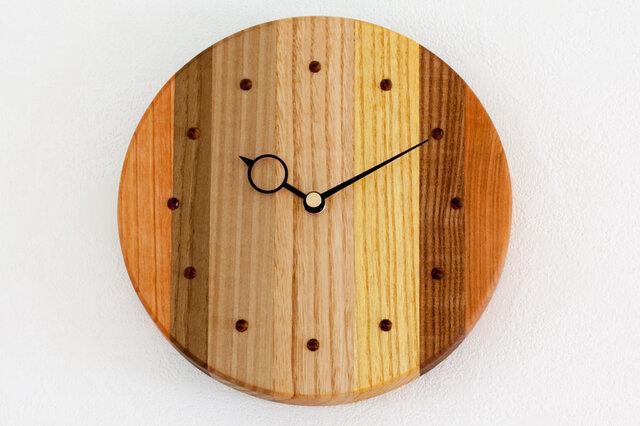 寄せ木の壁掛け時計 円形40の画像1枚目