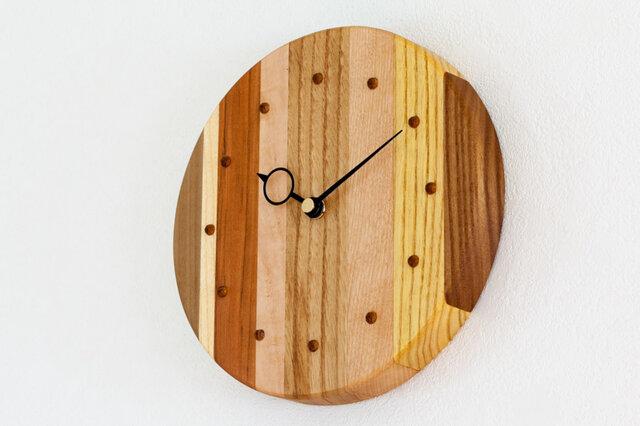 寄せ木の壁掛け時計 円形41の画像1枚目
