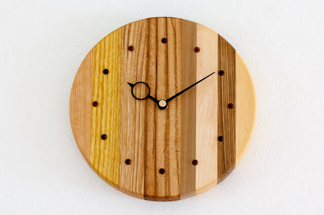 寄せ木の壁掛け時計 円形42の画像1枚目