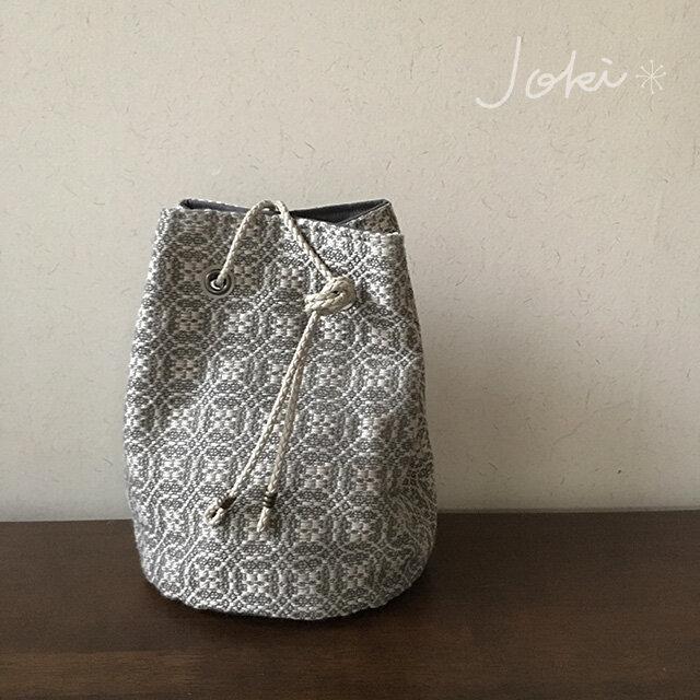 巾着 bag[手織りオーバーショット織 巾着バッグ]ベージュの画像1枚目