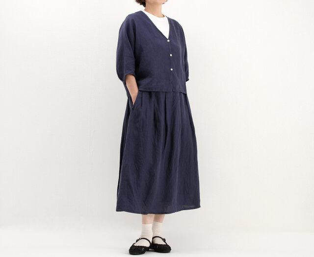 タックギャザースカート(ブルー)#264の画像1枚目