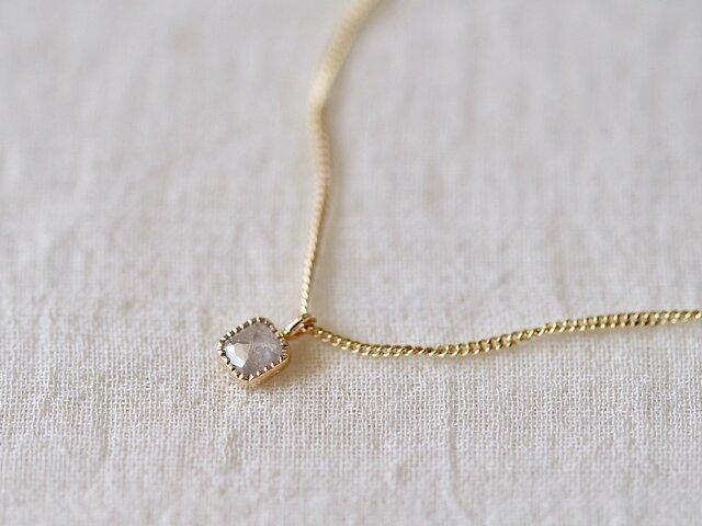 Baby Square Diamond Necklace/ Milk Skyの画像1枚目