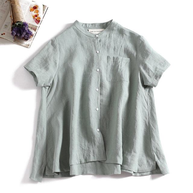 ラフで爽やかな極上リネンシャツ トップス リネン100%半袖 ライトグリーン 190710-3の画像1枚目