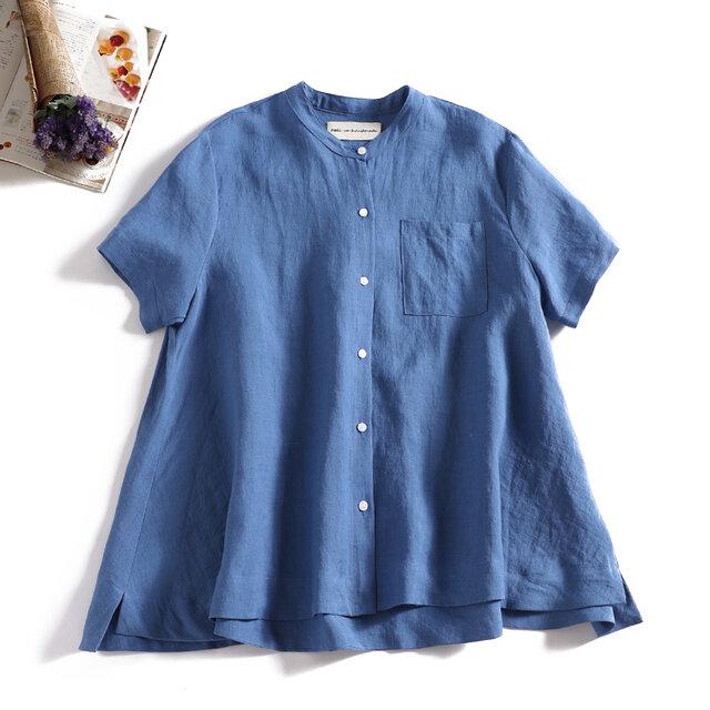 ラフで爽やかな極上リネンシャツ トップス リネン100%半袖 セルリアンブルー190710-4の画像1枚目