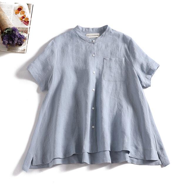 ラフで爽やかな極上リネンシャツ トップス リネン100%半袖 薄い水色 190710-5の画像1枚目