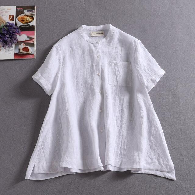 ラフで爽やかな極上リネンシャツ トップス リネン100%半袖 アッシュグレー190710-7の画像1枚目