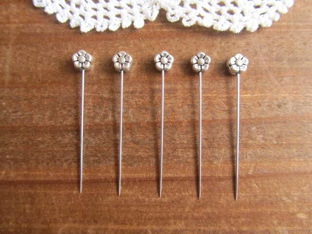 シルバーメタル小さなお花ビーズの待ち針 5本セットの画像1枚目