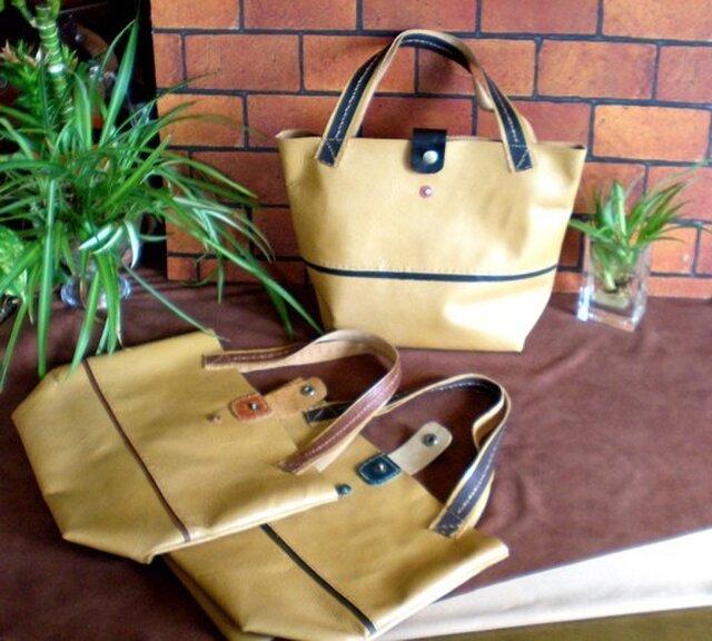紙袋風の革製トートバッグの画像1枚目