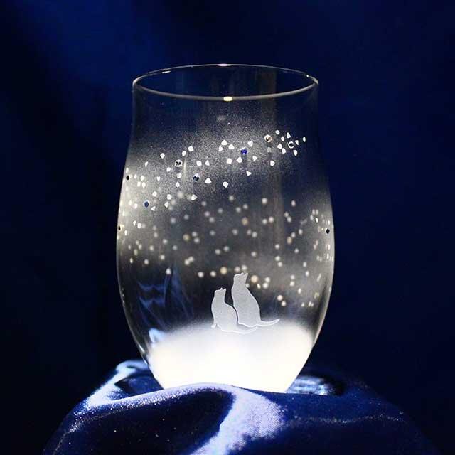 【青い天の川へ】猫モチーフのタンブラーグラス(vol.6)の画像1枚目