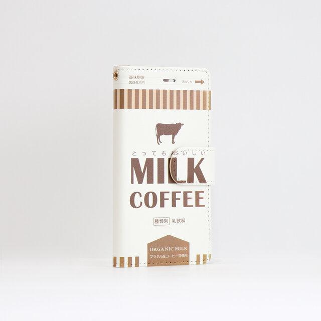 iphone12 ケース 手帳 ベルト付 ミルク コーヒーの画像1枚目