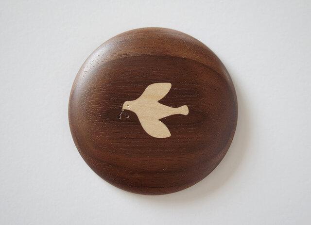 *受注製作品* 象嵌の手鏡 鳥〈おまけのポーチ付き〉の画像1枚目