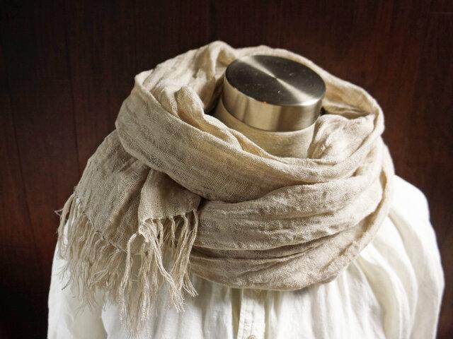 透かし織 くったり上質リネン シングルガーゼのストール 亜麻色の画像1枚目