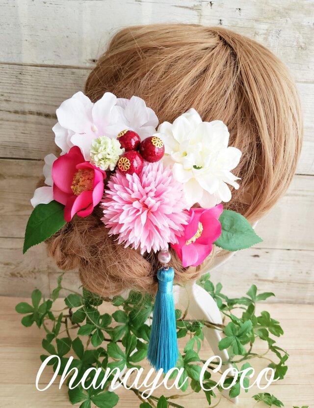 花姫 ピンク椿と紫陽花の髪飾り8点Set No552の画像1枚目