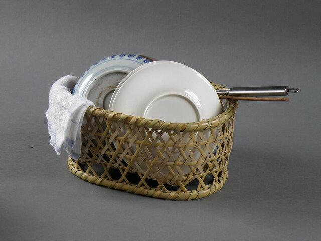 根曲竹 生活の道具 エコな生活 水切りかご 楕円籠 椀籠 小の画像1枚目
