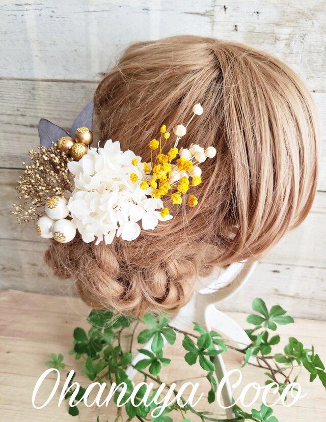 本物のお花 アンティーク風 紫陽花とかすみ草の髪飾り6点Set No553の画像1枚目