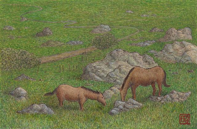草を食む馬たち~グラサレマにての画像1枚目