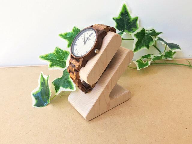 KATOMOKU 腕時計スタンド H.メープル km-103HM 削り出しの画像1枚目